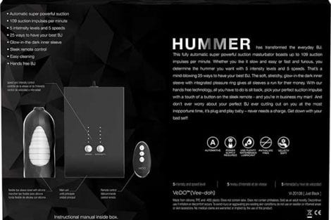 Hummer Automatic Suction Blowjob Machine Specs